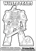 Coloring page showing a high detail White Scars Space Marine from Warhammer 40000 (Warhammer 40k) drawn standing from the front. The White Scars Space Marine colouring sheet was intended for kids to print out for coloring or for online coloring on the PrinterKids.com website. The Warhammer 40K White Scars printout page can be used for test-coloring before inking the actual citadel miniatures, or as a way to include the youngest fans in the family into the amazing hobby that Warhammer 40k is. Color, draw, cutout or share this White Scars Space marine sheet that show the futuristic soldier with a weapon in both hands and a pair of blades ready to be used still in their sheath. The White Scars Space Marine is drawn and made available by Loke Hansen (http://www.LokeHansen.com) based on an image from Warhammer 40000 2014 Codex.