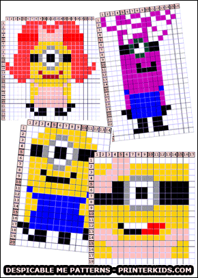 Print creative Despicable Me patterns from www.PrinterKids.com - The Despicable Me creative patterns are designed to be used for multiple options from HAMA perls ( perler ) to cross stitch and embroideries. You can even use the PrinterKids Despicable me patterns for building simple LEGO figures! The Despicable me creative patterns have been digitalized and made available by Loke Hansen ( www.LokeHansen.com ) #perler #creative #pattern #despicableme #minion #crossstitch #embroiderie