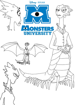 Print free colouring sheets with Dean Hardscrabble From Monsters University