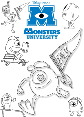 Print free colouring sheets with Mike From Monsters University