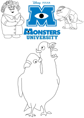 Print free colouring sheets with Don Carlton From Monsters University