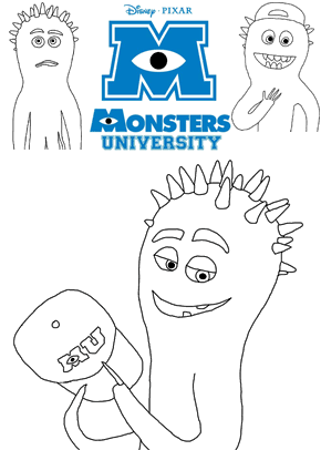 Print free colouring sheets with the Spiked Squid Scarer From Monsters University