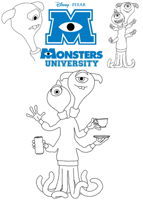 Print free colouring sheets with Terri and Terry Perry From Monsters University
