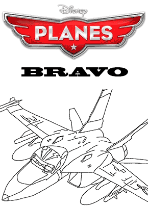 Print free colouring sheets with Bravo From Planes