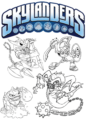 Print free colouring sheets with skylanders