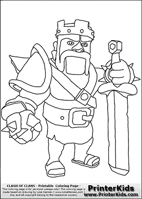 Clash of Clans Barbarian King Coloring Pages