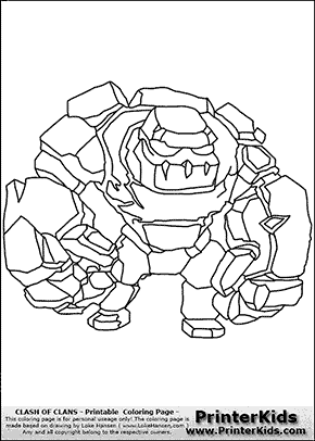Clash Of Clans - Golem - Coloring Page Preview