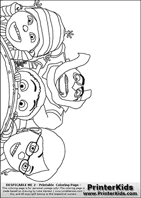 Despicable Me 2 Gru Margo Edith and Agnes Coloring Page Preview