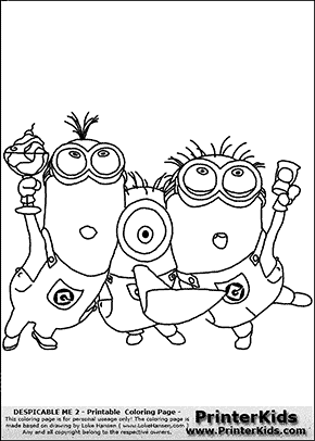 Despicable Me 2 Minion 13 Minions Partying Coloring Page Preview