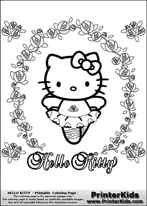 hello kitty flower ballerina coloring page preview - Kitty Ballet Coloring Pages
