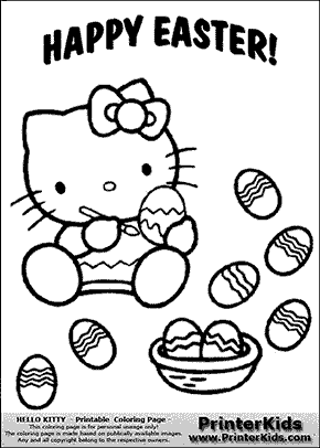 hello kitty happy easter egg painter coloring page preview - Coloring Pages Kitty Easter