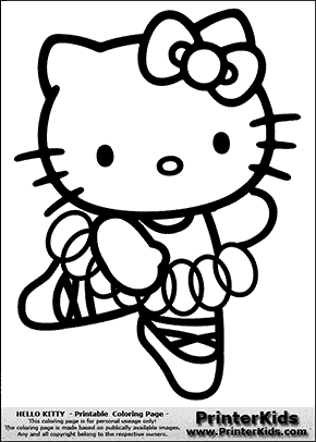 hello kitty ballerina dancing coloring page preview - Kitty Ballet Coloring Pages