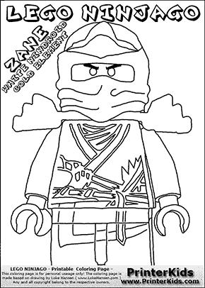 lego ninjago coloring pages zane
