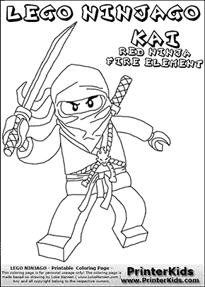 Lego NINJAGO KAI WITH SWORD Coloring Page Preview
