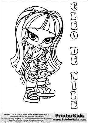 monster high cleo de nile baby chibi cute coloring page preview - Monster High Chibi Coloring Pages