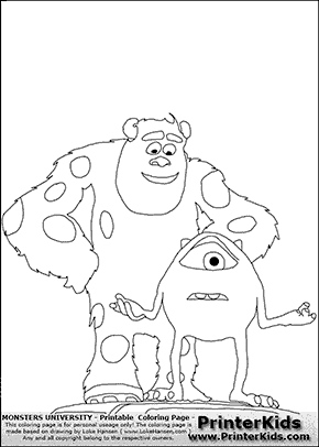 mike wazowski coloring pages - mike wazowski and sully coloring page coloring pages