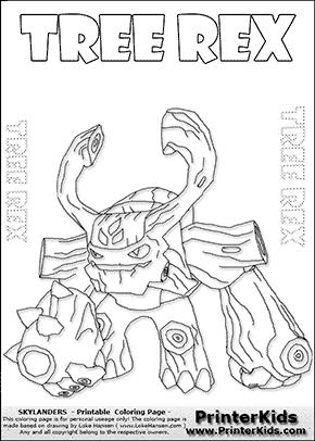 skylander coloring pages tree rex - Skylander Coloring Pages Tree Rex