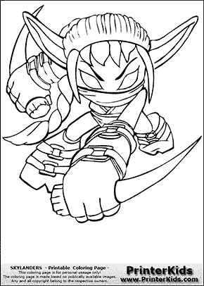 skylanders stealthelf coloring page preview with coloring page elf