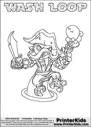 Skylanders Swap Force Wash Buckler Coloring Pages