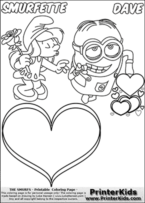 smurfette and minion dave valentines day favorite coloring page 1 preview - Despicable Coloring Pages Dave