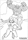 Online Coloring Page with Fantastic Four