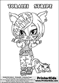 Online Coloring Page with Toralei Stripe From Monster High as a baby