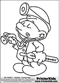 Coloring page with Doctor Smurf -(Dabbler Smurf, Originally Docteur Schtroumpf). Doctor Smurf is drawn standing with the end of his stethoscope in one hand as if he is about to listen to something or someone. He is holding a thermometer in the other hand. He has a headlamp on his smurf hat and of course his doctors shirt on.