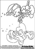 Coloring page with Doctor Smurf -(Dabbler Smurf, Originally Docteur Schtroumpf) and Smurfette (la schtroumpfette). The two smurfs are drawn standing up facing each other. Doctor Smurf is holding the end of his stethoscope towards a large heart that Smurfette is holding in her hands. The  Smurf colouring sheet was intended for kids to print out for coloring or for online coloring on the PrinterKids website. This printabl colouring sheet is designed so that the coloring figures take up about one theird of the A4 sized paper. The printable sheet has several small hearts drawn above the two figures in the background. The  Smurf activity page for kids is drawn and made available by Loke Hansen (http://www.LokeHansen.com) based on an image found via a google images search for the term SMURF.