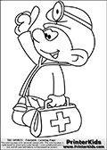 Coloring page with Doctor Smurf -(Dabbler Smurf, Originally Docteur Schtroumpf). Doctor Smurf is drawn standing with a bag in one hand while pointing upwards with a finger on the other. He has a stethoscope around his neck, a headlamp on his smurf hat and of course his doctors shirt.