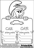 Coloring page with Smurfette (la schtroumpfette) holding an educational board with a car on it. The board has cute flower ornaments that split the board into a display area with the symbol and two areas with lines that can be written on. The lines has a pencil symbol to their left. The idea behind this educational kids activity page was to encourage kids to practice writing. The board has the word CAR written with two different fonts.