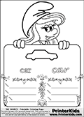 Coloring page with Smurfette (la schtroumpfette) holding an educational board with a car on it. The board has cute flower ornaments that split the board into a display area with the symbol and two areas with lines that can be written on. The lines has a pencil symbol to their left. The idea behind this educational kids activity page was to encourage kids to practice writing. The board has the word car written in lower case with two different fonts.