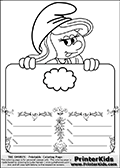 Coloring page with Smurfette (la schtroumpfette) holding an educational board with a cloud on it. The board has cute flower ornaments that split the board into a display area with the symbol and two areas with lines that can be written on. The lines has a pencil symbol to their left. The idea behind this educational kids activity page was to encourage kids to practice writing. The board has no text - just the symbol so it is for advanced practice! There is a version of the kids activity page with visible words here at PrinterKids too. Chec for that option here: Educational Smurf Pages with Words if your child hasnt tried them first or is unfamiliar with the majority of letters and their sounds.