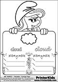 Coloring page with Smurfette (la schtroumpfette) holding an educational board with a cloud on it. The board has cute flower ornaments that split the board into a display area with the symbol and two areas with lines that can be written on. The lines has a pencil symbol to their left. The idea behind this educational kids activity page was to encourage kids to practice writing. The board has the word cloud written in lower case with two different fonts.
