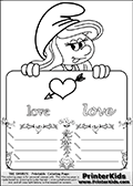 Coloring page with Smurfette (la schtroumpfette) holding an educational board with a cupid arrow heart on it. The board has cute flower ornaments that split the board into a display area with the symbol and two areas with lines that can be written on. The lines has a pencil symbol to their left. The idea behind this educational kids activity page was to encourage kids to practice writing. The board has the word love written in lower case with two different fonts.