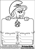 Coloring page with Smurfette (la schtroumpfette) holding an educational board with fire on it. The board has cute flower ornaments that split the board into a display area with the symbol and two areas with lines that can be written on. The lines has a pencil symbol to their left. The idea behind this educational kids activity page was to encourage kids to practice writing. The board has no text - just the symbol so it is for advanced practice! There is a version of the kids activity page with visible words here at PrinterKids too. Chec for that option here: Educational Smurf Pages with Words if your child hasnt tried them first or is unfamiliar with the majority of letters and their sounds.