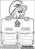 Coloring page with Smurfette (la schtroumpfette) holding an educational board with fire on it. The board has cute flower ornaments that split the board into a display area with the symbol and two areas with lines that can be written on. The lines has a pencil symbol to their left. The idea behind this educational kids activity page was to encourage kids to practice writing. The board has the word FIRE written with two different fonts.