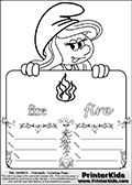 Coloring page with Smurfette (la schtroumpfette) holding an educational board with fire on it. The board has cute flower ornaments that split the board into a display area with the symbol and two areas with lines that can be written on. The lines has a pencil symbol to their left. The idea behind this educational kids activity page was to encourage kids to practice writing. The board has the word fire written in lower case with two different fonts.