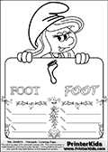 Coloring page with Smurfette (la schtroumpfette) holding an educational board with a footprint on it. The board has cute flower ornaments that split the board into a display area with the symbol and two areas with lines that can be written on. The lines has a pencil symbol to their left. The idea behind this educational kids activity page was to encourage kids to practice writing. The board has the word FOOT written with two different fonts.