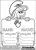 Coloring page with Smurfette (la schtroumpfette) holding an educational board with a hand on it. The board has cute flower ornaments that split the board into a display area with the symbol and two areas with lines that can be written on. The lines has a pencil symbol to their left. The idea behind this educational kids activity page was to encourage kids to practice writing. The board has the word HAND written with two different fonts.