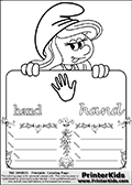 Coloring page with Smurfette (la schtroumpfette) holding an educational board with a hand on it. The board has cute flower ornaments that split the board into a display area with the symbol and two areas with lines that can be written on. The lines has a pencil symbol to their left. The idea behind this educational kids activity page was to encourage kids to practice writing. The board has the word hand written in lower case with two different fonts.