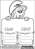 Coloring page with Smurfette (la schtroumpfette) holding an educational board with a leaf on it. The board has cute flower ornaments that split the board into a display area with the symbol and two areas with lines that can be written on. The lines has a pencil symbol to their left. The idea behind this educational kids activity page was to encourage kids to practice writing. The board has the word LEAF written with two different fonts.