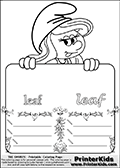Coloring page with Smurfette (la schtroumpfette) holding an educational board with a leaf on it. The board has cute flower ornaments that split the board into a display area with the symbol and two areas with lines that can be written on. The lines has a pencil symbol to their left. The idea behind this educational kids activity page was to encourage kids to practice writing. The board has the word leaf written in lower case with two different fonts.