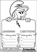Coloring page with Smurfette (la schtroumpfette) holding an educational board with a lightning bolt on it. The board has cute flower ornaments that split the board into a display area with the symbol and two areas with lines that can be written on. The lines has a pencil symbol to their left. The idea behind this educational kids activity page was to encourage kids to practice writing. The board has the word LIGHTNING written with two different fonts.