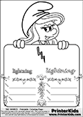 Coloring page with Smurfette (la schtroumpfette) holding an educational board with a lightning bolt on it. The board has cute flower ornaments that split the board into a display area with the symbol and two areas with lines that can be written on. The lines has a pencil symbol to their left. The idea behind this educational kids activity page was to encourage kids to practice writing. The board has the word lightning written in lower case with two different fonts.