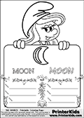 Coloring page with Smurfette (la schtroumpfette) holding an educational board with a moon on it. The board has cute flower ornaments that split the board into a display area with the symbol and two areas with lines that can be written on. The lines has a pencil symbol to their left. The idea behind this educational kids activity page was to encourage kids to practice writing.