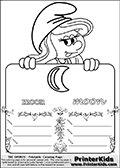 Coloring page with Smurfette (la schtroumpfette) holding an educational board with a moon on it. The board has cute flower ornaments that split the board into a display area with the symbol and two areas with lines that can be written on. The lines has a pencil symbol to their left. The idea behind this educational kids activity page was to encourage kids to practice writing. The board has the word moon written in lower case with two different fonts.