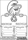 Coloring page with Smurfette (la schtroumpfette) holding an educational board with a recycle symbol on it. The board has cute flower ornaments that split the board into a display area with the symbol and two areas with lines that can be written on. The lines has a pencil symbol to their left. The idea behind this educational kids activity page was to encourage kids to practice writing. The board has the word RECYCLE written with two different fonts.