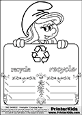 Coloring page with Smurfette (la schtroumpfette) holding an educational board with a recycle symbol on it. The board has cute flower ornaments that split the board into a display area with the symbol and two areas with lines that can be written on. The lines has a pencil symbol to their left. The idea behind this educational kids activity page was to encourage kids to practice writing. The board has the word recycle written in lower case with two different fonts.