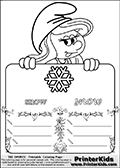 Coloring page with Smurfette (la schtroumpfette) holding an educational board with a snowflake on it. The board has cute flower ornaments that split the board into a display area with the symbol and two areas with lines that can be written on. The lines has a pencil symbol to their left. The idea behind this educational kids activity page was to encourage kids to practice writing. The board has the word snow written in lower case with two different fonts.