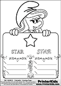 Coloring page with Smurfette (la schtroumpfette) holding an educational board with a star on it. The board has cute flower ornaments that split the board into a display area with the symbol and two areas with lines that can be written on. The lines has a pencil symbol to their left. The idea behind this educational kids activity page was to encourage kids to practice writing. The board has the word STAR written with two different fonts.